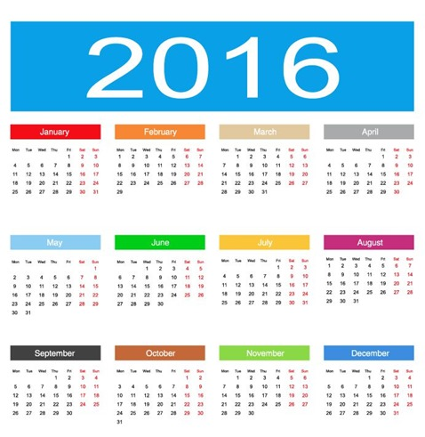 2016 Calendar Vector Illustration