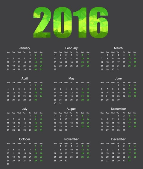 2016 Calendar with Low Poly Vector Illustration