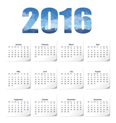 2016 Year Calendar Vector Illustration