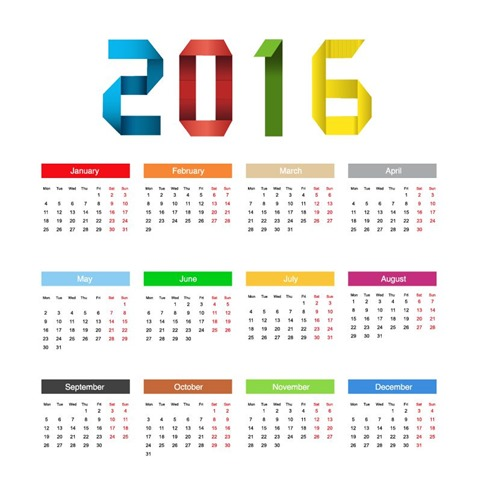 Calendar 2016 Year Colorful Design Vector Illustration