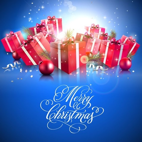 Christmas Gifts Background Vector Illustration