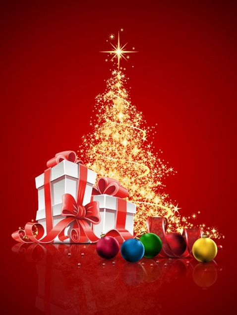 Abstract-Christmas-Tree-with-Gift-Box-and-Ball-Vector-Illustration