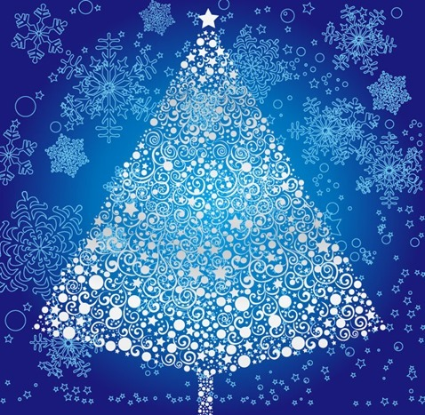 Abstract Christmas Tree with Snowflakes Background Vector