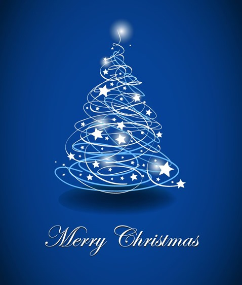 Abstract Christmas Trees on Blue Background Vector Illustration