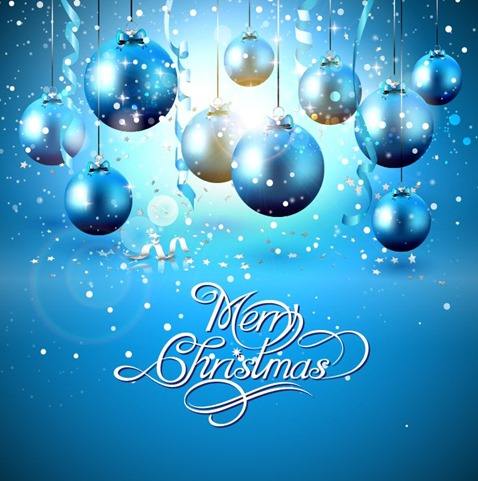 Christmas Balls on Blue Background Vector Illustration