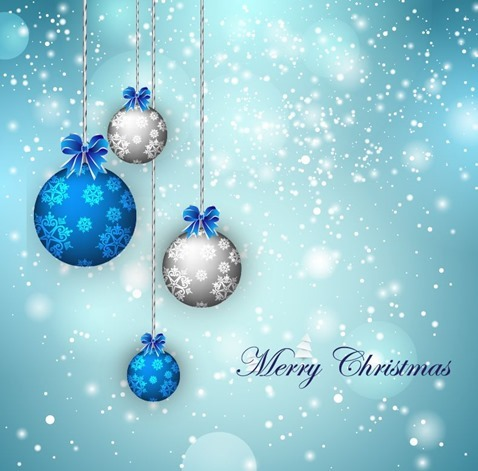 Christmas Balls on Snowflake Background Vector Illustration