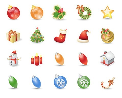 Christmas Icons Set Vector Illustration