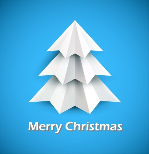 Christmas Tree of White Paper on Blue Background Vector Illustration