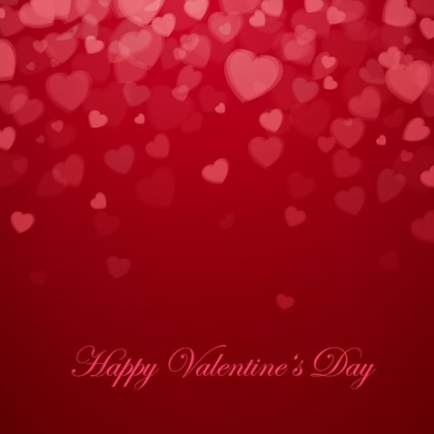 Valentine's Day With Hearts Background Vector Illustration