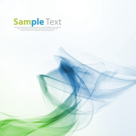 Abstract Blue Green Wave Smoke Background Vector