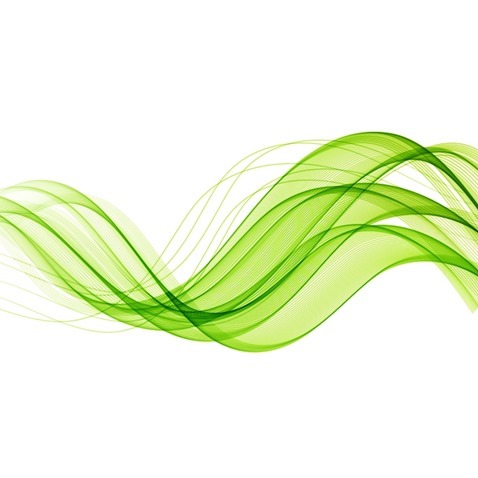 Abstract Green Wavy Lines Vector Background