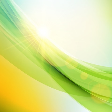 Abstract Sunlight Green Wave Background