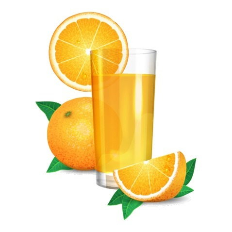 Fresh Orange Juice and Oranges with Leaves