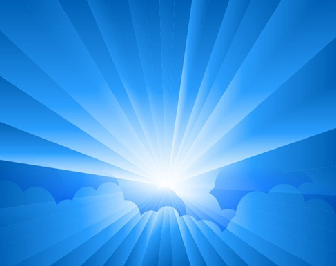 Sun Burst with Rays form Clouds Vector