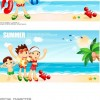 Cartoon boys and girls seaside resort Vector Graphics