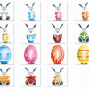 Easter Eggs And Cartoon Rabbits PNG Icon