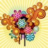 Colorful Retro Design Flowers Vector