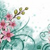 Lily Flowers with Grunge Floral Background