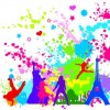 Free Colorful InkBlot of City Silhouette Vector Graphics