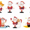 Cartoon Santa Vector Set