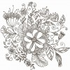 Line Drawing Swirl Flower Pattern Vector Graphic