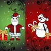 Christmas Card with Santa and Snowman Vector Illustration