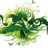 Green Swirl Floral Vector Illustration