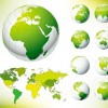 Globe and World Map Green Vector