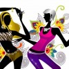 Two Girls Dancing on Floral Background Vector Illustration