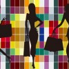 Fashion Shopping Girl Silhouettes with Colorful Background Vector Graphic