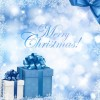 Christmas Blue Background with Gift Box and Snowflake Vector Illustration