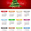 Christmas Calendar for 2014 Year Vector Illustration