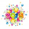 Happy 2014 New Year with Colorful Balloons Vector Illustration