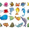 Marine Animal Cartoon Vector Set