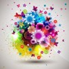 Beautiful Fashion Abstract Flower Design Vector Graphic