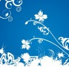 White Floral on Blue Background Vector Graphic