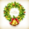 Green Christmas Wreath with Decorations