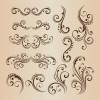 Vintage Swirl Floral Design Vector Set