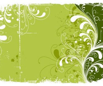 Trend Green Flowers Pattern Vector
