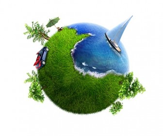 Conceptual Symbol of a Green Earth Globe Graphics