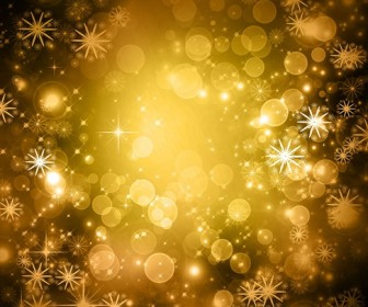 Yellow Glittery Snowflake Winter Background