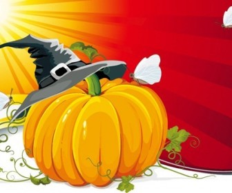 Halloween Pumpkin with Ray Background Vector Illustration