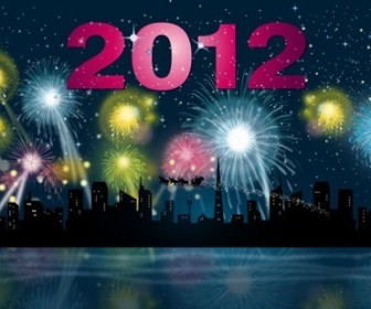 2012 Fireworks Party Night Vector Graphic