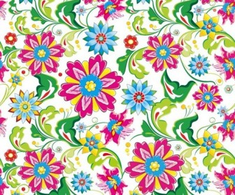Showy Seamless Floral Vector Background