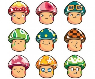 Cartoon Mushrooms Vector Set