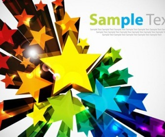 Colorful 3D Stars Vector Background