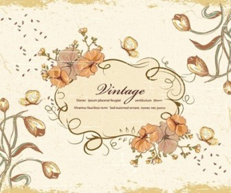 Vintage Floral Design Vector Illustration