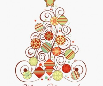Swirl Floral Christmas Tree Vector Graphic
