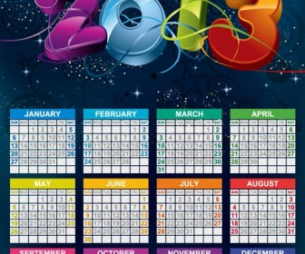 Vector Calendar 2013 New Year