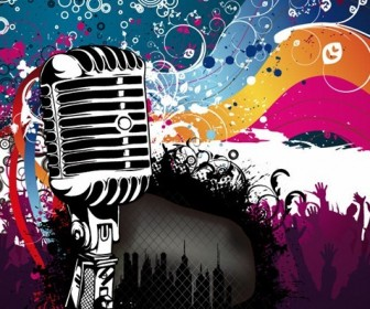 Microphone Music Poster Vector Illustration